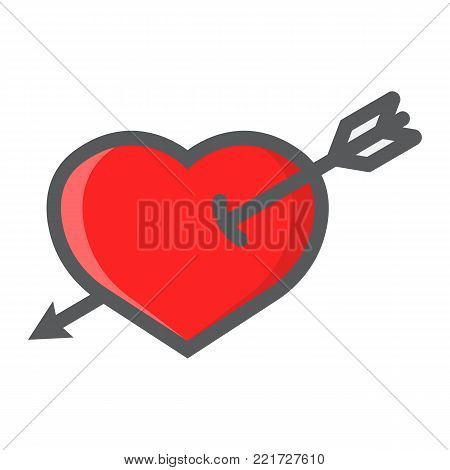 Heart Pierced with Arrow filled outline icon, valentines day and romantic, love sign vector graphics, a colorful line pattern on a white background, eps 10.