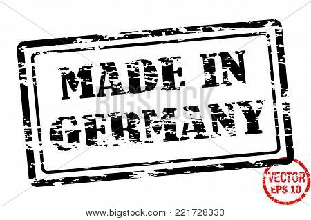 Made in Germany - template of grunged black square stamp for business isolated on white background. Usable as rubber, banner, label, logo, icon or watermark for manufactured products etc.
