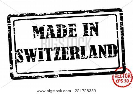 Made in Switzerland - template of grunged black square stamp for business isolated on white background. Usable as rubber, banner, label, logo, icon or watermark for manufactured products etc.