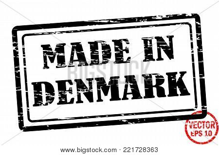 Made in Denmark - template of grunged black square stamp for business isolated on white background. Usable as rubber, banner, label, logo, icon or watermark for manufactured products etc.