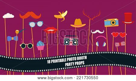 Photo booth props collection for birthday or wedding party vector illustration. Funny icons for hat, glasses, mustache and other celebration elements for making hipster style photo booth collage