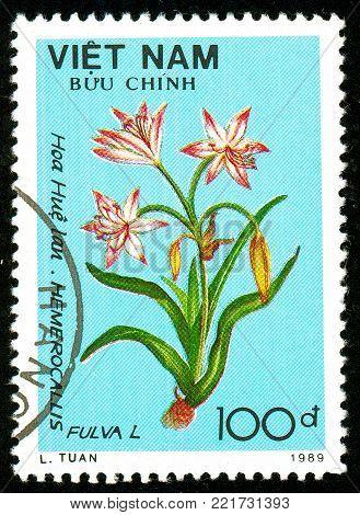 Ukraine - circa 2018: A postage stamp printed in Vietnam shows flower Orange day lily or Hemerocallis fulval. Series: Flowers. Circa 1989.