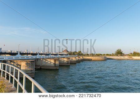 Dam Gate On Morning, The Pa Sak Cholasit Dam Project