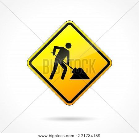 Illustration of yellow construction sign icon concept