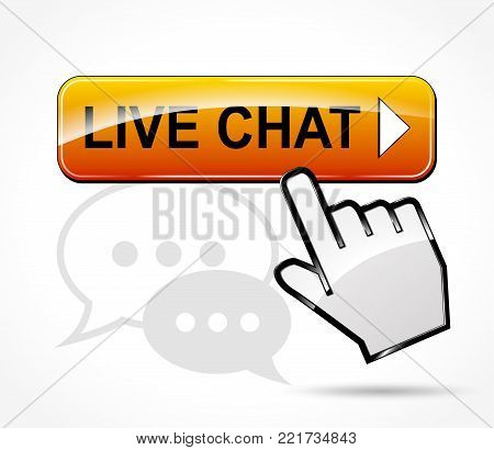 Illustration of live chat button concept design