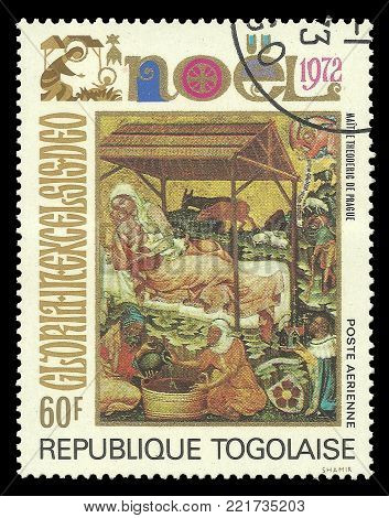Togo - circa 1972: Stamp printed by Togo, Color edition on Art, shows Painting Theodore mother Prague Christmas theme, circa 1972