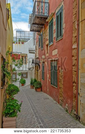 Street in old town Chania, Crete island, Greece