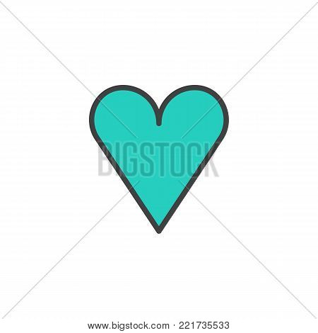 Heart filled outline icon, line vector sign, linear colorful pictogram isolated on white. Favorite love symbol, logo illustration. Pixel perfect vector graphics