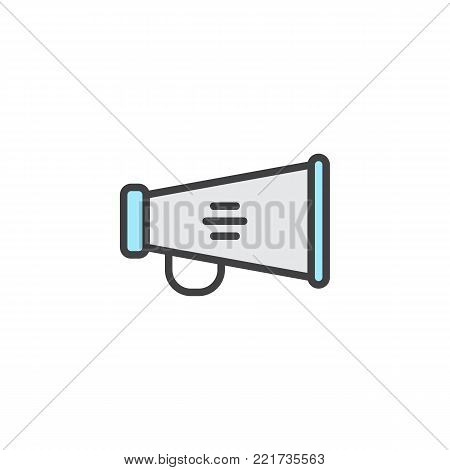 Megaphone filled outline icon, line vector sign, linear colorful pictogram isolated on white. Bullhorn symbol, logo illustration. Pixel perfect vector graphics