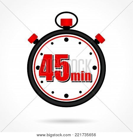 Illustration of forty five minutes stopwatch on white background