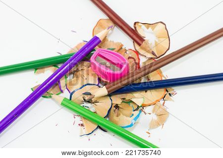 Colored Pencils And A Pencil Sharpener