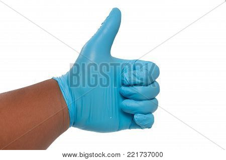 hand in blue glove Giving Thumbs Up Sign