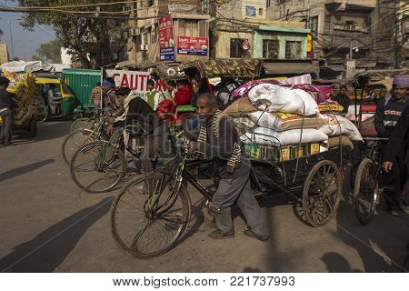 DELHI, INDIA - December 20 2014 : jam transportation in spice market in Old delhi. this place is biggest herb and spice wholesale of delhi.
