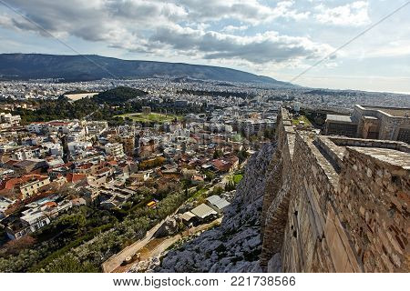 View of Athens city from Akropolis, Greece