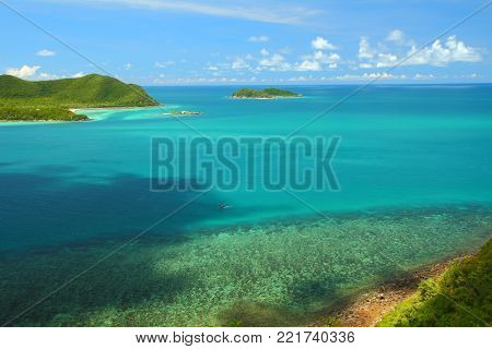 Viewpoint and beautiful blue seascape at Chonburi province, Gulf of Thailand.
