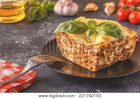 Traditional Lasagna Made With Minced Beef Bolognese Sauce And Bechamel Sauce.