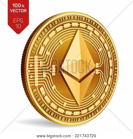 Ethereum. 3D isometric Physical coin. Digital currency. Cryptocurrency. Golden coin with ethereum symbol isolated on white background. Vector illustration