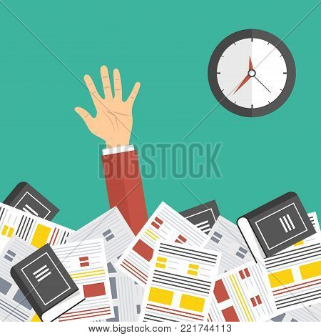Deadline concept. Overworked businessman under a lot of documents. A lot of work concept. Vector colorful illustration in flat design isolated on green.