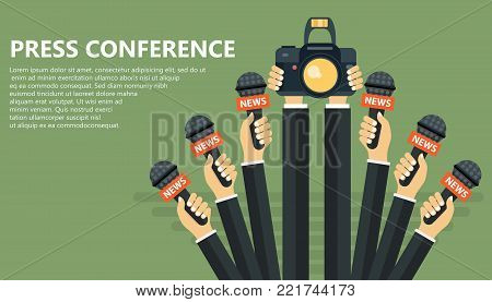 Microphones in reporter hands. Set of microphones and camera isolated on green background. Mass media, television, interview, breaking news, press conference concept. Flat vector illustration.