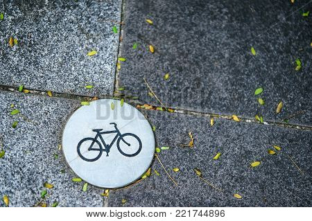 round Icon bike paths built into the paving slabs