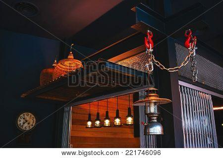 Kerosene Lamp Interior with kerosene lamps. Dark colors