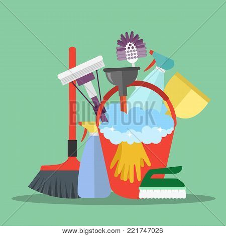 Equipment Cleaning service concept. Poster template for house cleaning services with various tools. Flat vector illustration