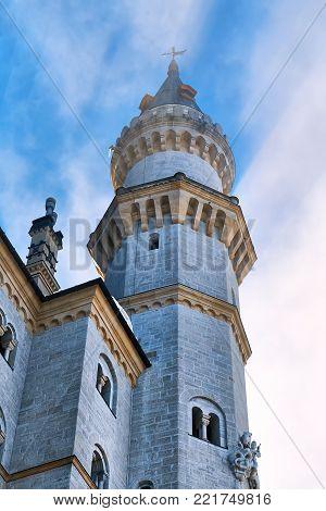 Tower of the fairytale Neuschwanstein castle in Germany