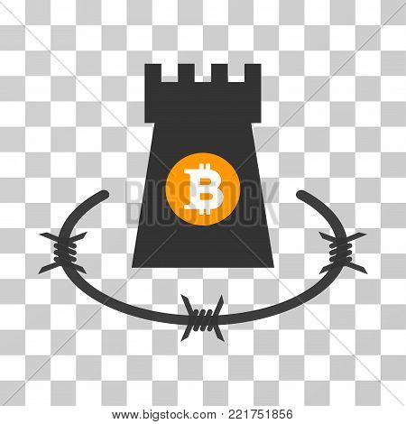 Bitcoin Barbwire Bulwark vector icon. Illustration style is flat iconic symbol on a chess transparent background.