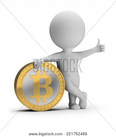 3d small person stands near a bitcoin coin with a thumb up. 3d image. White background.