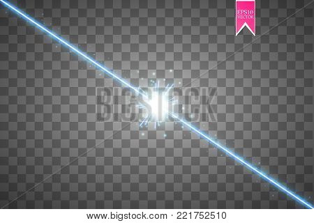 Glow isolated blue transparent effect, lens flare, explosion, glitter, line, sun flash, spark and stars. For illustration template art design, banner for Christmas celebrate, magic flash energy ray. Eps 10