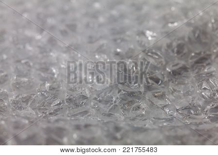 close up of White Bubble Wrap Packing