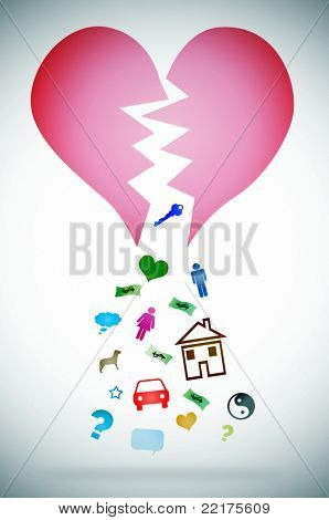 an illustration with a broken heart symbolizing the concept divorce