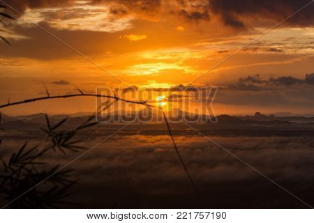 Light morning sunrise with fog and natural radiance, From the mountain views, Krabi - THAILAND poster