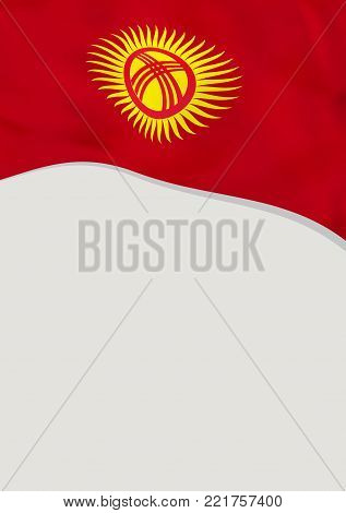 Leaflet design with flag of Kyrgyzstan. Vector template.
