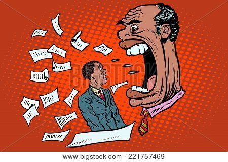 African boss yells at a subordinate. work and business. Pop art retro vector illustration