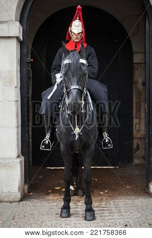 London, United Kingdom - October 29, 2017: A mounted trooper of the Household Cavalry outside Horse Guards off Whitehall in central London
