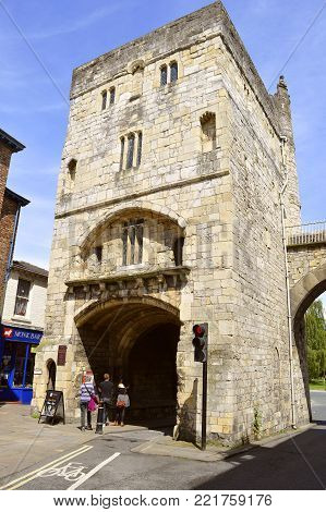 York, Yorkshire, England, UK - May 22, 2016 : Monk Bar four-storey gatehouse is the tallest of the four bars on the surrounding City wall of York