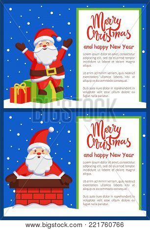Merry Christmas and Happy New Year posters Santa Claus sitting on gift boxes and in chimney outdoors vector greeting cards design, congrats postcard