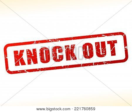 Illustration of knock out red text stamp