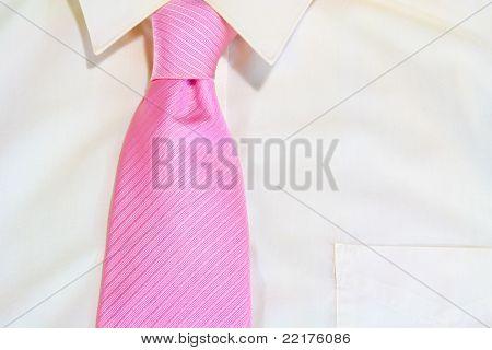 Pink Necktie Tied On White Shirt