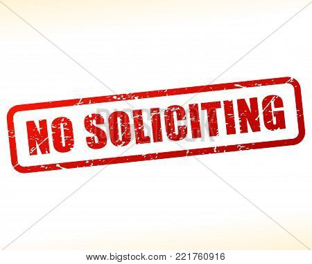 Illustration of no soliciting red text stamp