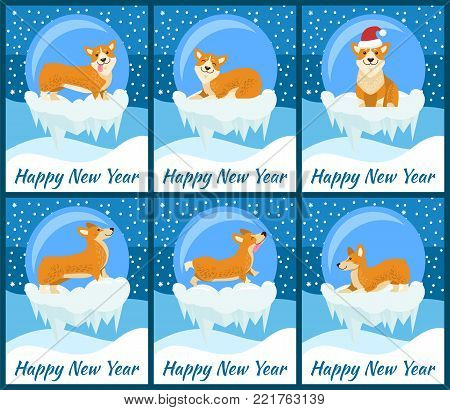 Happy New Year posters with Corgi dog inside glass bubble with bottom covered with ice and snowflakes around cartoon vector illustrations set.