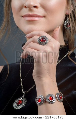 Fashion model beautiful woman demonstrated collection luxury accessory and jewelry. Stylish ring on girl finger