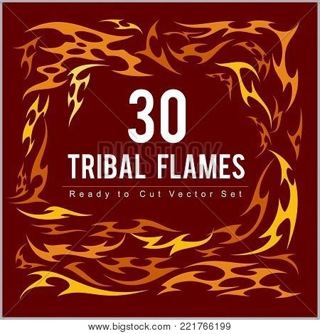 Vinyl ready fire flames set. Great for vehicle graphics and T-shirt decals.