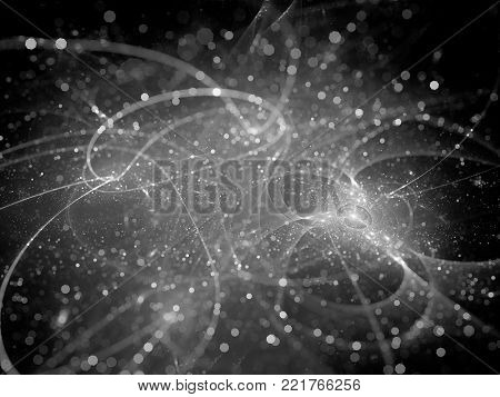 Glowing futuristic space technology with particles, black and white texture, computer generated abstract background, 3D rendering
