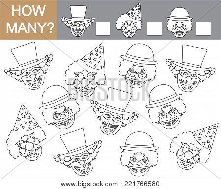 Color faces of clowns and count how many clowns. Vector illustration.