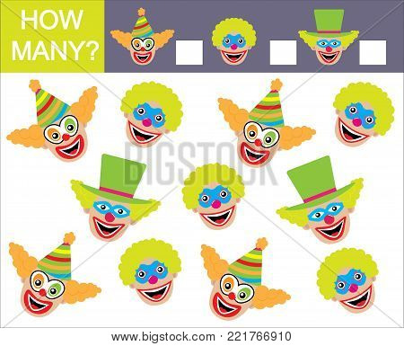 Learning numbers, mathematics. How many faces of clowns. Game for children.
