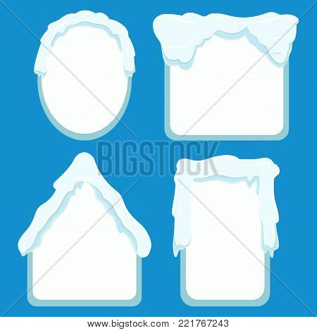 Frames of oval, square, rectangular and house shapes labels with space inside for writing or pictures. Vector poster of snowy tags collection with icy decor on top. Winter frames banners set