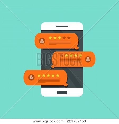 Concept of feedback, testimonials messages and notifications. Speech bubbles on mobile phone with review rating, flat style smart phone reviews stars with good and bad rate and text. Flat vector.