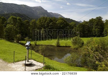 German Alps Forest Viewing Spot